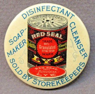 C.  1910 Red Seal Lye Soap Maker Cleanser Celluloid Advertising Pocket Mirror