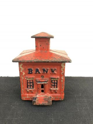 Small Antique Red Painted Cast Iron Bank W/cupola