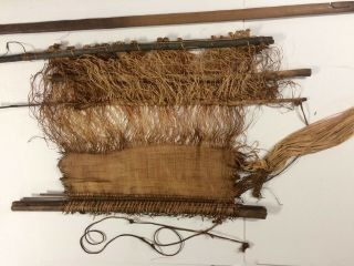 Antique Kuba Loom With Raffia Weaving From West Africa