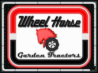 Wheel Horse Garden Tractors Dealer Style Neon Effect Print Banner Sign Art 4 X 3
