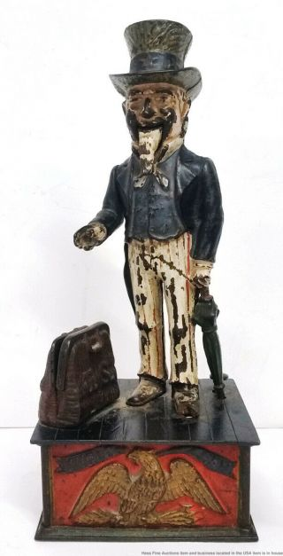 Rare Early Antique Uncle Sam Cast Iron Bank To Fix Or Restore