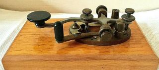 Early Telegraph Key At&t Type 1a Western Electric Brass & Steel On Wood Base