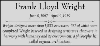 Frank Lloyd Wright Custom Laser Engraved 2 X 4 Inch Plaque