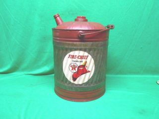 Vintage 5 Gallon Metal Gas Can Texaco Fire Chief Decal Unique One Of A Kind