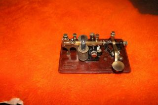 Antique J.  H.  Bunnell Telegraph Key And Sounder Combo On Engraved Wood Base