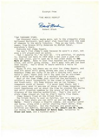 Robert Bloch Signed Pre - Publication Excerpt From The Movie People 1969 Story