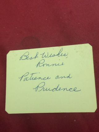 Patience Snd Prudence Signed Autograph Book Page