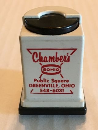 Vintage Chambers Sohio Gas Station Pump Ad Coin Holder Greenville Ohio