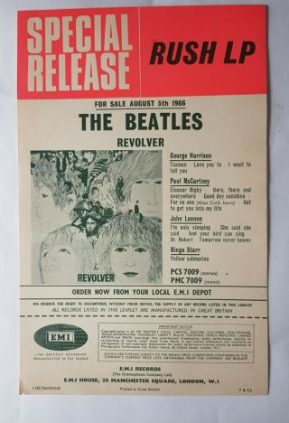 Emi Special Release Rush Lp - The Beatles - Revolver - August 5th 1966