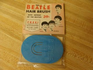 Rare The Beatles Blue Hair Brush With Header Card 1964 Genco Bellestron