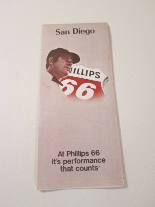 Vintage 1972 Phillips 66 San Diego California Gas Station Travel Road Map