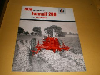 1950s Mccormick Farmall 200 International Harvester Tractor Brochure Booklet