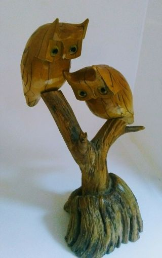 Hand - Man Carved Owls Vintage Wood Artisan Wright Pre - Owned