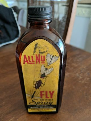 Rare Vintage All Nu Fly And Insect Poison Bottle Paper Label Find Another