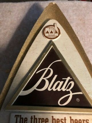 1970 Vintage Blatz Triangle Shaped Sign Gold Glitter Trim