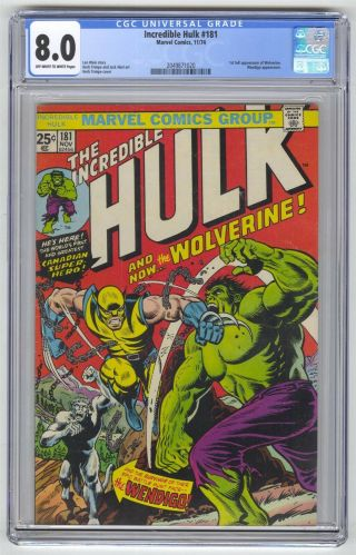 Incredible Hulk 181 Cgc 8.  0 Marvel Comic Mega Key 1st Wolverine