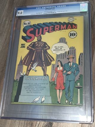 Superman 16 Cgc 9.  0 Vf/nm Oww Dc 1942 1st Lois Lane Cover In Superman