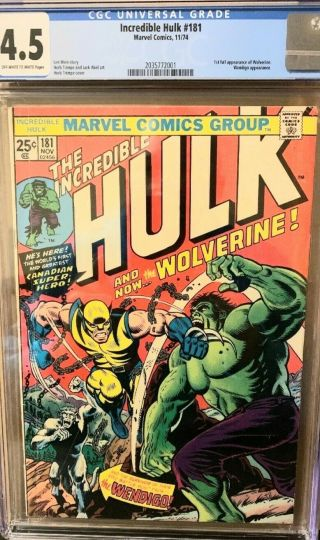 The Incredible Hulk 181 Cgc 4.  5 Off - White To White Pages 1st Wolverine