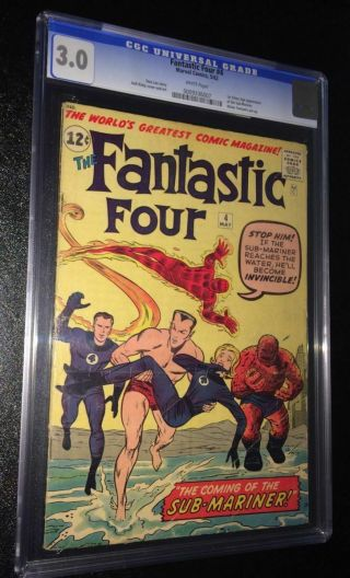 Fantastic Four 4 Cgc 3.  0 White Pages 1st Submariner Mcu