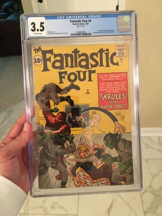 Fantastic Four 2 Cgc 3.  5 Off - White Pages 1st Appearance Of The Skrulls