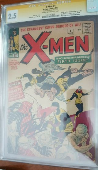 Uncanny X - Men 1 Cgc 2.  5 Cream To Off White Pages Signed Stan Lee Ss Magneto