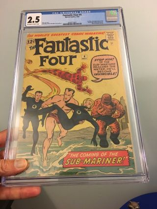 Fantastic Four 4 Cgc 2.  5 Ow - W Pages 1st Appearance Silver Age Sub - Mariner