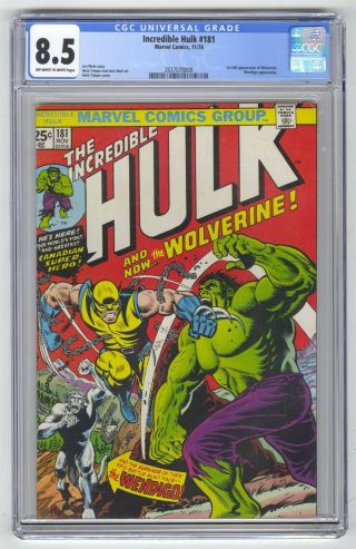 Incredible Hulk 181 Cgc 8.  5 Marvel Comic Mega Key 1st Wolverine