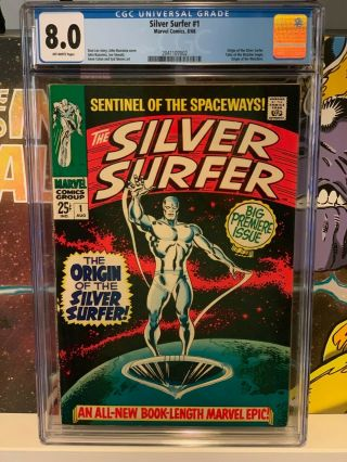 Silver Surfer 1 Cgc 8.  0 | Marvel 1968 | Origins Of Silver Surfer & Watchers.