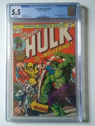The Incredible Hulk 181 5.  5 Cgc Marvel Bronze Age Comic Book 1st Wolverine