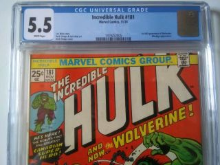 The Incredible Hulk 181 5.  5 CGC Marvel Bronze age comic Book 1st Wolverine 4