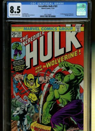 Incredible Hulk 181 Cgc 8.  5 | Marvel 1974 | 1st Full Wolverine.  Wendigo App.