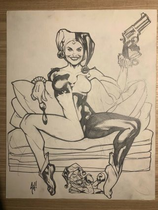 Harley Quinn Unmasked Pencil Sketch Art & Signed Adam Hughes 11x14