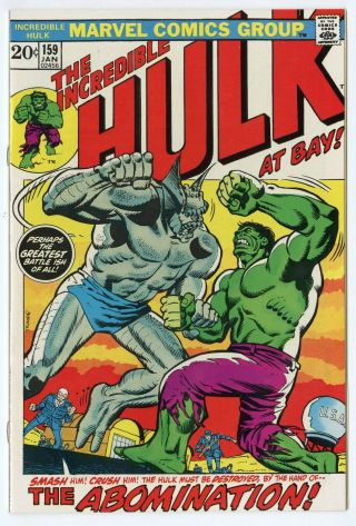 Hulk 159 Nm 9.  4 White Pages Vs.  The Abomination Marvel 1973