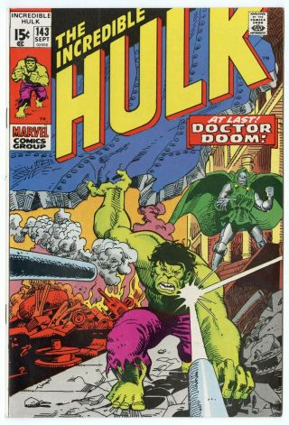 Hulk 143 Nm 9.  4 White Pages Vs.  Dr.  Doom Marvel 1971