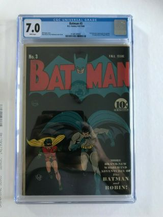 Batman 3 CGC 7.  0 WHITE PAGES 1st Catwoman in costume KEY ISSUE L@@K 4
