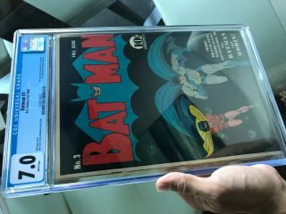 Batman 3 CGC 7.  0 WHITE PAGES 1st Catwoman in costume KEY ISSUE L@@K 7