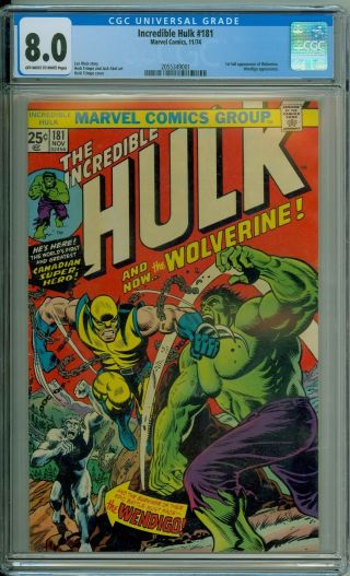 The Incredible Hulk 181 Cgc 8.  0 Vf Ow/w 1st App Wolverine / Perfect Centering