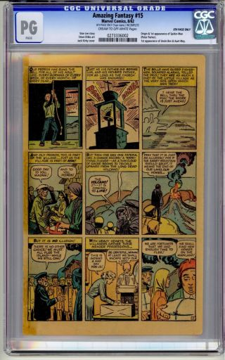 Fantasy 15 Cgc Pg Page Only 1962 Stan Lee Holy Grail Rare