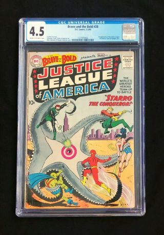 Brave And The Bold 28 Cgc 4.  5 Vg,  1st App Justice League Of America Dc 1960