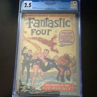 Fantastic Four 4 Cgc 2.  5 Ow/white Pages First Silver Age Sub - Mariner Very Hot