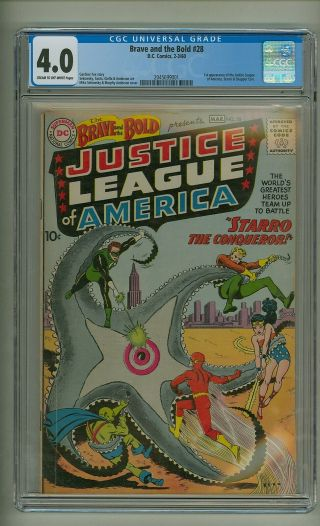 Brave And The Bold 28 (cgc 4.  0) C/ow Pages; 1st Justice League 1960 (c 24032)
