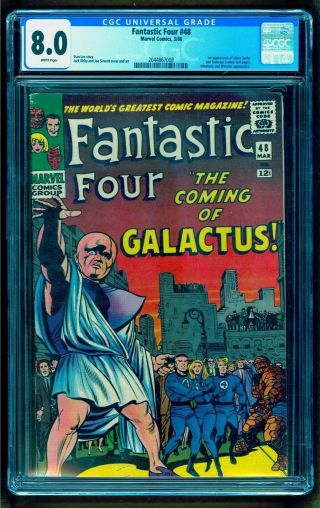 Fantastic Four 48 Cgc 8.  0 White Pgs 1st Silver Surfer Galactus See Our 49 50