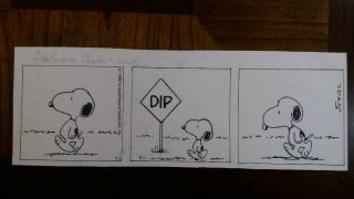 Peanuts Charls Schulz Signed Daily Comic Strip Art Dated 7 - 2 - 88