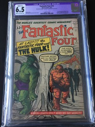 Fantastic Four 12 Cgc 6.  5 Cr To Ow Pgs.  C - 1 Restored Small Color Touch