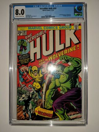 The Incredible Hulk 181 (wolverine 1st Appearance) Cgc 8.  0 Vf Marvel Comic 1974