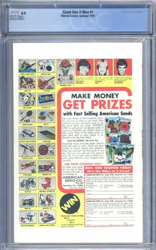 Giant Size X - Men 1 CGC 8.  0 Great Looking Book 1st Storm Colossus Nightcrawler 2