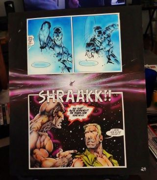 """Dragonring 10 Pg.  24 Painted Color Comic Art 14 """" X 17 """" By Dale Keown"""