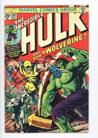 Incredible Hulk 181 Vol 1 1st App Wolverine W/marvel Stamp