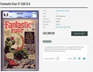 FANTASTIC FOUR 1 CGC 6.  5 R BRIGHT COLORS UNPRESSED SEE OUR 48 49 50 4