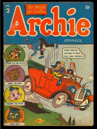 Archie Comics 2 Scarce Unrestored Early Golden Age Mlj Teen 1943 Gd - Vg